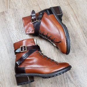 UGG Collection Sassari Leather Buckle Combat Boots